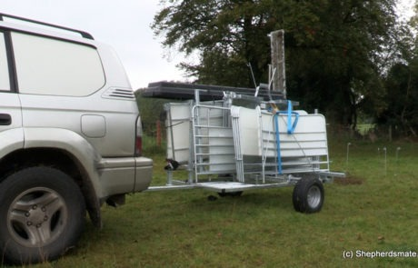 Mobile Sheep Handling Race with Road legal trailer, fitted with road tyres for moving from farm to farm